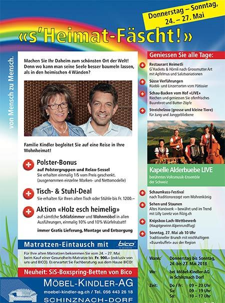s'Heimat Fäscht 24. bis 27. Mai 2018