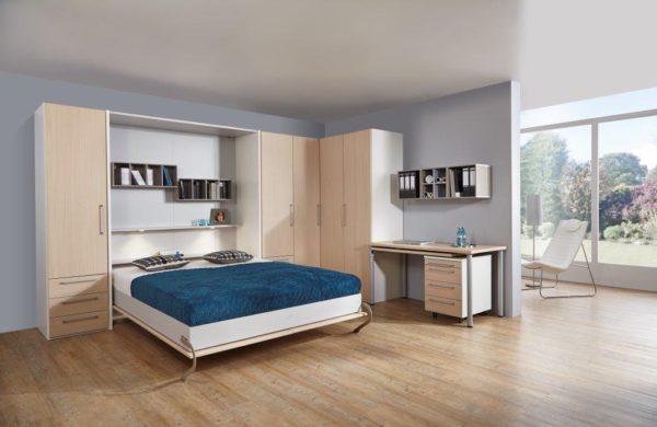08: Schrankbett oder auch Klappbett genannt für Ferienwohnungen und überall da, wo Platz gespart werden will
